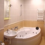 Renovated Bathroom with Jacuzzi Washing-machine, Iron. Hair dryer